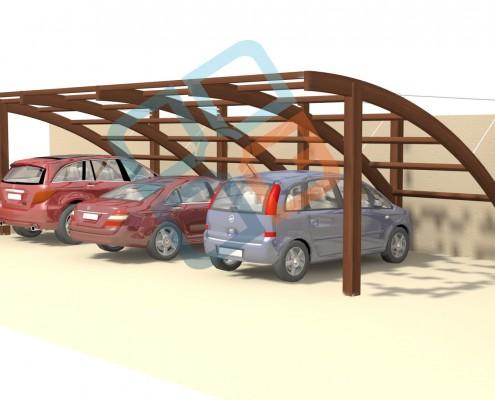 GR-004- Blakaut Tenteli Kavisli Ahşap Garaj